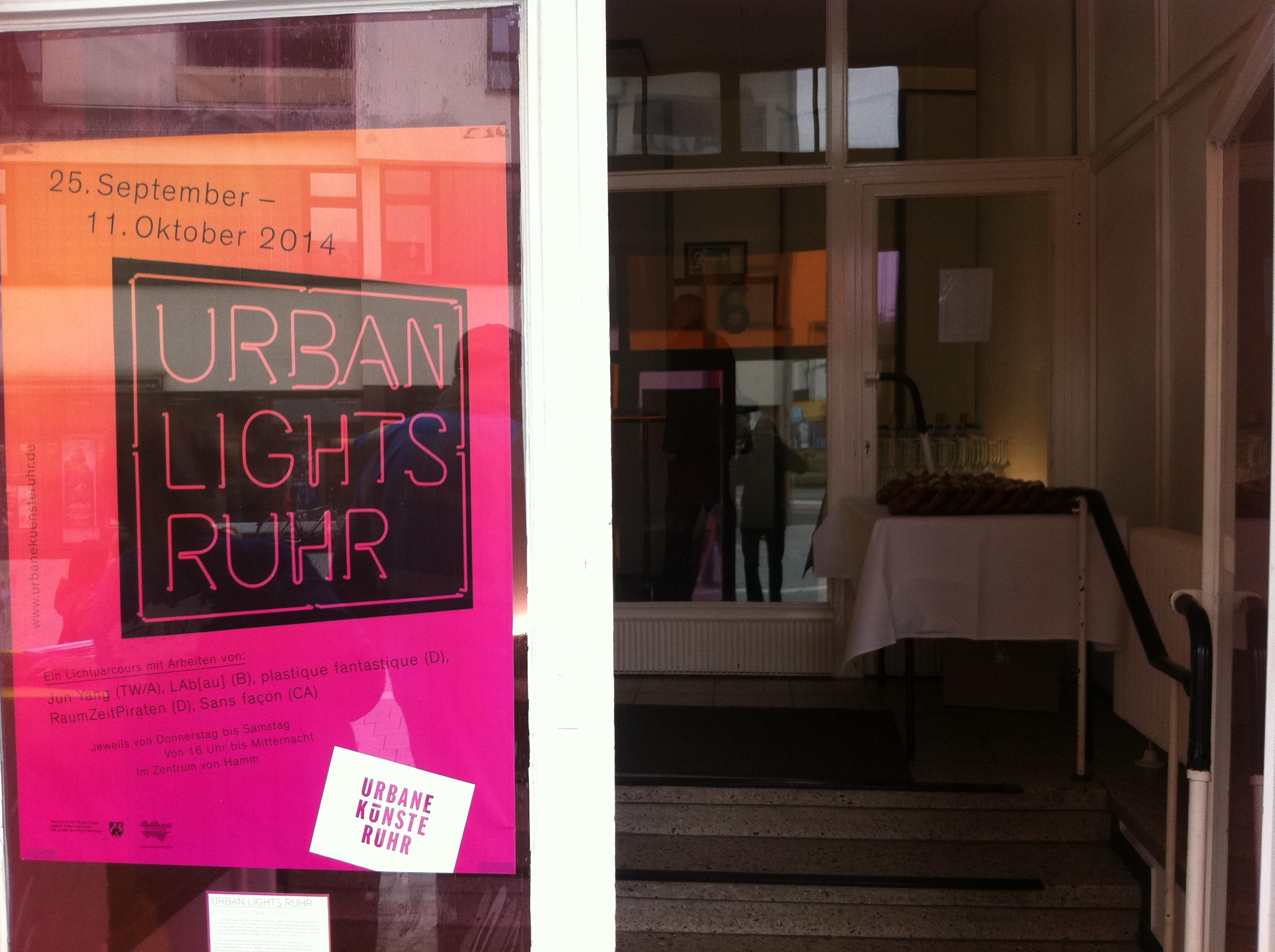URBAN LIGHTS RUHR – Lichtparcours im öffentlichen Raum in Hamm     Sektempfang von HUkultur zur Eröffnung
